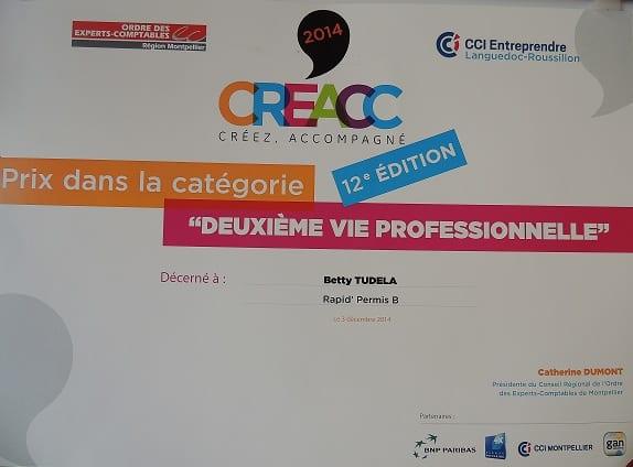 Betty Tudela décroche le prix régional Cré'acc